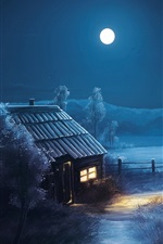Preview iPhone wallpaper Painting, moon, stars, night, forest, trees, house