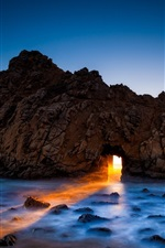 Preview iPhone wallpaper Pfeiffer beach, Big Sur, California, USA, rock, arch, ocean