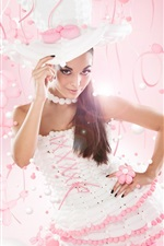 Preview iPhone wallpaper Pure girl, hat, pink style