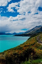 Preview iPhone wallpaper Queenstown, New Zealand, Lake Wakatipu, road, mountains