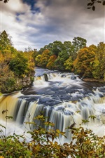 Preview iPhone wallpaper Scotland, Clyde Valley Woodlands, autumn, trees, river, waterfalls