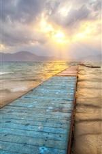 Sea, bridge, dusk, sunset