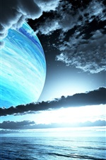 Preview iPhone wallpaper Sky, clouds, planets, evening, sunset, sea