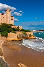 Preview iPhone wallpaper Tarragona, Costa Dorada, Catalonia, Spain, castle, sea, rocks