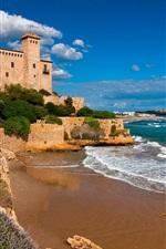 Preview iPhone wallpaper Tarragona, Costa Dorada, Catalonia, Spain, castle, sea, rocks
