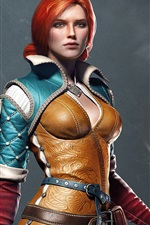 Preview iPhone wallpaper The Witcher 3: Wild Hunt, red hair girl