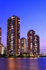 Tóquio, Japão, arranha-céus, bela noite, ponte, luzes, mar