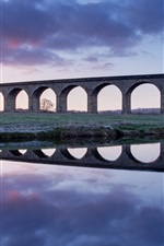 Preview iPhone wallpaper United Kingdom, England, bridge, viaduct, river, dawn, water reflection