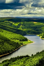 Preview iPhone wallpaper United Kingdom, England, river, trees, grass, clouds