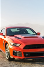 Preview iPhone wallpaper 2014 Ford Mustang orange and blue cars