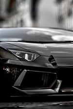 Preview iPhone wallpaper 2014 Lamborghini Aventador black supercar front view