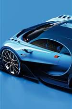 Preview iPhone wallpaper 2015 Bugatti Vision Gran Turismo blue supercar side view