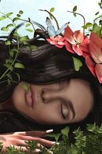 미리보기 iPhone 배경 화면 3D 판타지 소녀, 머리, 꽃, 잔디, 나비