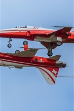 Preview iPhone wallpaper Aerobatic, two planes, parade, Switzerland