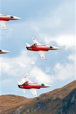 Preview iPhone wallpaper Aircraft, four fighters in the sky