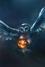 Preview iPhone wallpaper Animal painting, owl, Halloween, pumpkin