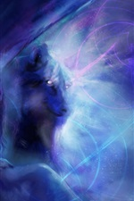 Preview iPhone wallpaper Art painting, girl with wolf, blue style