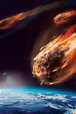 Preview iPhone wallpaper Art painting, meteor, planet, atmosphere, friction, fire