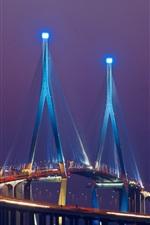 iPhone fondos de pantalla Asia, Corea del Sur, Songdo, puente, luces, noche