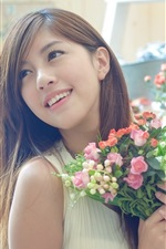 Preview iPhone wallpaper Asian girl and flowers