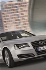 Preview iPhone wallpaper Audi A8L silver car speed