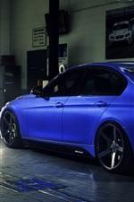 iPhone fondos de pantalla Retrovisor del coche azul BMW 335i F30