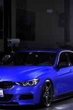 iPhone fondos de pantalla BMW 335i parada coche azul