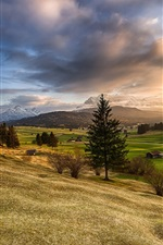 Bavaria, mountains, hills, trees, fields, houses, sunrise