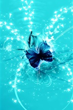 Preview iPhone wallpaper Blue abstract butterfly