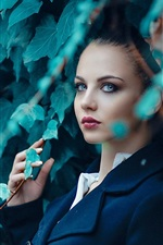 Preview iPhone wallpaper Blue coat girl, leaves
