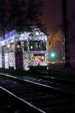 Budapest, Hungary, city, night, tram, road, rails, trees, lighting