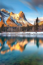 Preview iPhone wallpaper Canada, Alberta, Canmore, lake, mountains, trees, morning