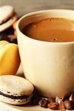 Preview iPhone wallpaper Coffee, cup, almond, cookies, dessert