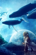 Creative pictures, whales, dream world, fantasy, girl