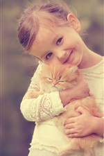 Preview iPhone wallpaper Cute girl holding a cat, smile