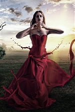 Fantasy girl, red dress, creative pictures, trees, sun