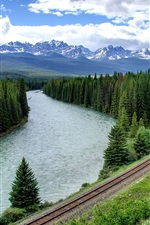 Forest, trees, river, railroad, mountains, clouds