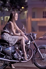 Preview iPhone wallpaper Girl, motorcycle, street, night