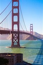 Preview iPhone wallpaper Golden Gate Bridge, San Francisco, USA, bay, sun