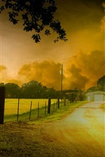 Preview iPhone wallpaper HDR nature scenery, trees, yellow leaves, road, house, dusk