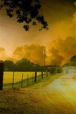 미리보기 iPhone 배경 화면 HDR 자연 풍경, 나무, 노란 단풍, 도로, 집, 황혼