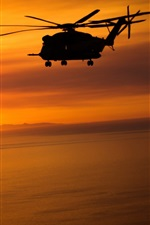 Preview iPhone wallpaper Helicopters, flying, sunset, red sky