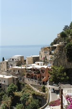 Preview iPhone wallpaper Italy, Amalfi, city, houses, street, sea