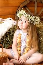 alegria bonito da menina, grinalda, cabra, coelho, cesta, ovos