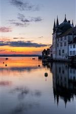 iPhone fondos de pantalla Lago de Constanza, castillo Steckborn, Thurgau, Suiza, barcos, atardecer