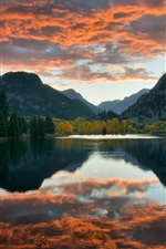 Preview iPhone wallpaper Lake, sky, clouds, mountains, trees, water reflection, autumn