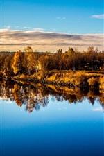 Lake, trees, water reflection, autumn