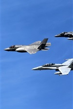 Preview iPhone wallpaper Lockheed Martin, fighters flight, blue sky