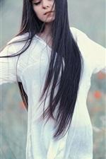 Preview iPhone wallpaper Long hair girl, white dress, meadow, dream