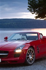 Preview iPhone wallpaper Mercedes-Benz SLS roadster, red convertible car